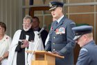 Shaun Clarke, then a Group Captain in the RNZAF, addresses an Anzac Day ceremony in 2010. PHOTO / FILE