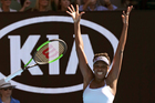 United States' Venus Williams celebrates after defeating compatriot Coco Vandeweghe during their semifinal at the Australian Open. Photo / AP