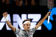 Switzerland's Roger Federer celebrates after defeating Germany's Mischa Zverev during their quarterfinal at the Australian Open. Photo / AP