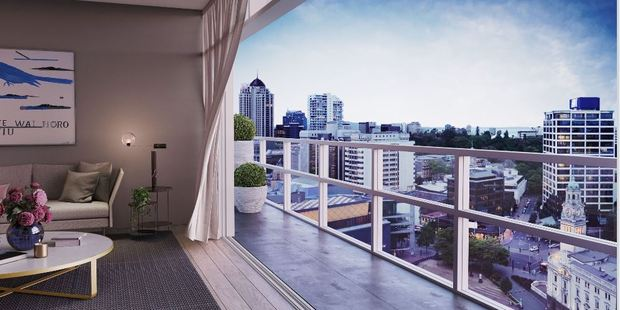 How it could look: Auckland's skyline viewed from an apartment, proposed to be developed inside the ex-Auckland Council building on Aotea Square.