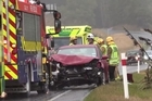 Wild weather in the south contributed to a three-car pile-up on SH1 near Dunedin today