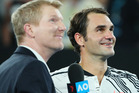 Channel Seven commentator Jim Courier is legendary at posing awkward questions to stars after a victory, and last night's semi-final clash was no different. Photo / Getty Images.