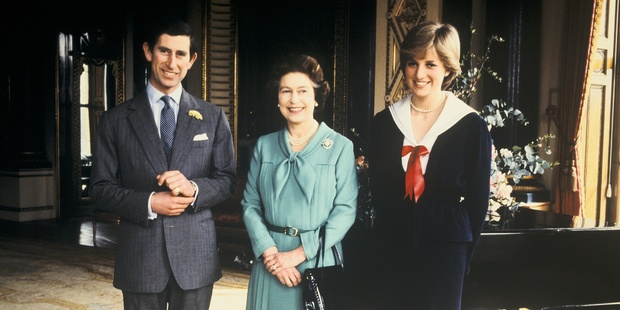 Lady Diana, Prince Charles and Queen Elizabeth II at Buckingham Palace.