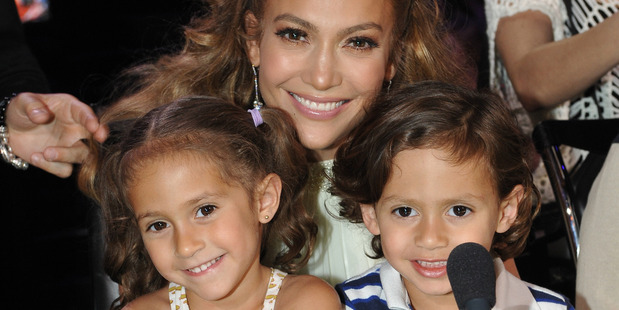 Jennifer Lopez with daughter Emme and son Max. Photo / Getty