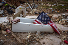 The tornado lifted the tub out of the home and deposited it in the woods with the woman still in the tub. Photo / Getty Images / File