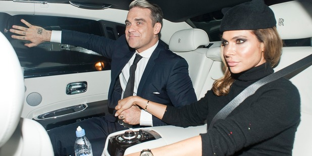 Robbie Williams and Ayda Field are sighted leaving UNICEF Halloween ball, 2013 in London, England. Photo / Getty