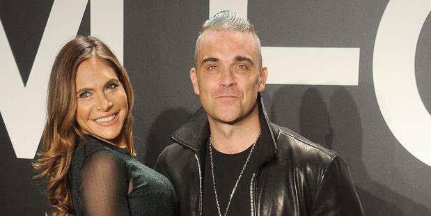 Robbie Williams and wife Ayda Field. Photo / Getty