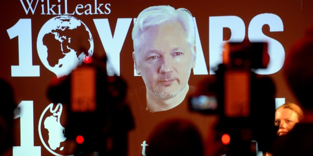 WikiLeaks founder Julian Assange participates via video link at a news conference marking the 10th anniversary of the secrecy-spilling group in Berlin, Germany. Photo / Getty