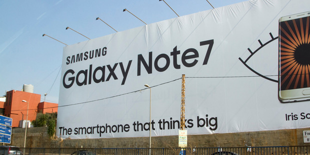 Advertising boards in Beirut still feature the Samsung Galaxy Note 7 which was recalled. Photo / Getty