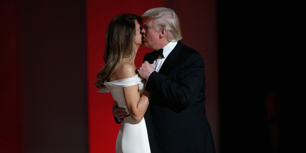 President Donald Trump dances with wife Melania Trump at the Liberty Inaugural Ball. Photo / Getty Images