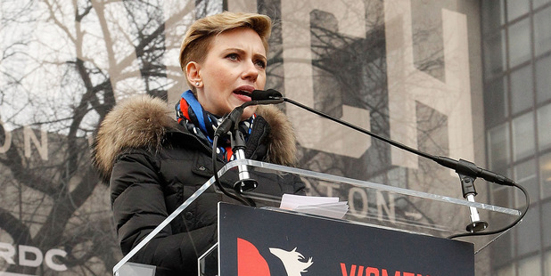 Scarlett Johansson speaks onstage during the rally at the Women's March on Washington on January 21, 2017 in Washington, DC. Photo / Getty