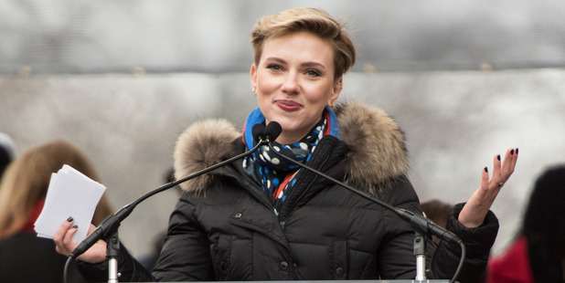 Scarlett Johansson attends the Women's March. Photo / Getty