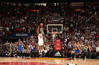Dion Waiters of the Miami Heat shoots the game winning shot over Klay Thompson. Photo / Getty