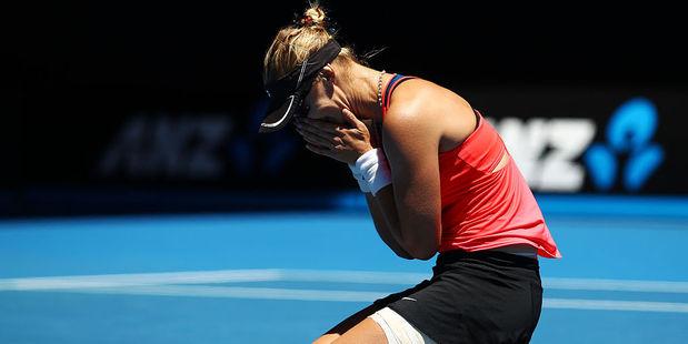 Loading Mirjana Lucic-Baroni celebrates winning her quarterfinal match against Karolina Pliskova. Photo / Getty