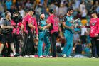 Moises Henriques of the Sixers shakes hands with Brendon McCullum during the Big Bash League semi final match between the Brisbane Heat and the Sydney Sixers. Photo / Getty Images