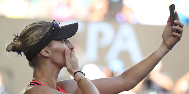 Mirjana Lucic-Baroni takes a selfie photo after being knocked out of the Australian Open. Photo /Getty