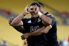 Isaac Te Tamaki celebrates a try in the match between New Zealand and the USA. Photo / Getty