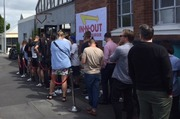 A large queue formed quickly outside Pocket Bar & Kitchen where the In-N-Out Burger pop up happened. Photo . Matthew Theunissen