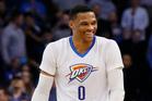Oklahoma City Thunder guard Russell Westbrook laughs against the Dallas Mavericks. Photo / AP