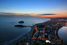 The view from Mauao overlooking Mount Maunganui as the sun sets. Photo/file