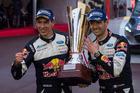 Sebastien Ogier celebrates victory in the season-opening Monte Carlo Rally. Photo / Red Bull Media