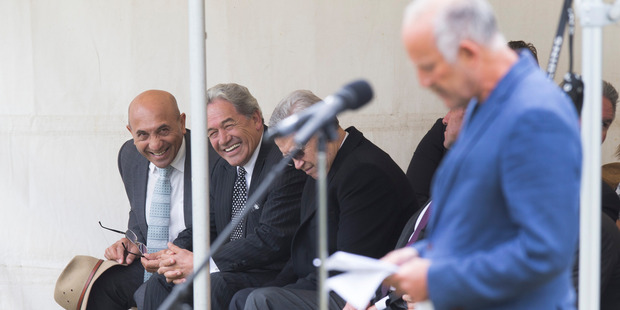 Loading Winston Peters (second left) and MP Ron Mark (left) react to a stinging attack from Gareth Morgan (right)  during their visit to Ratana Pa Marae. Photo / Mark Mitchell