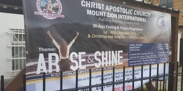 """""""Replacing letters with a body isn't really working on this church banner,"""" tweets @KateRobbins."""