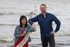 Composer Gareth Farr and playwright Renee Liang, who wrote the opera The Bone Feeder. New Zealand Herald photograph by Mark Mitchell