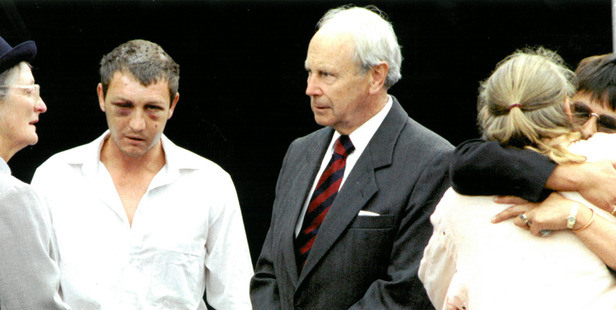 Lady Hardie Boys and Sir Michael talk to shooting victim Rodney Van De Wetering at the memorial service for the victims of the Raurimu massacre 13 February 1997 New Zealand Herald Photograph