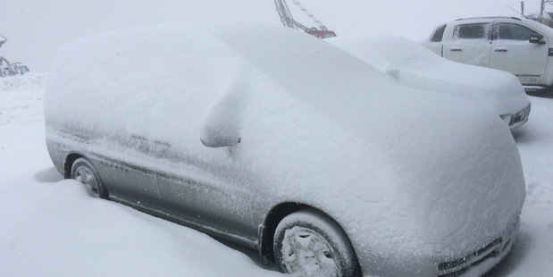 This was the resorts fourth snowfall in a month. Photo / Supplied via Matt McIvor, Cardrona Alpine Resort