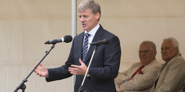 Prime Minister Bill English during his speech, some in te reo, at the Ratana Pa Marae, Ratana. Photo / Mark Mitchell