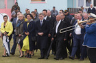 Prime Minister Bill English and his delegation are welcomed onto Ratana Marae, Ratana. Photo / Mark Mitchell