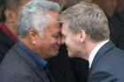 Prime Minister Bill English hongis with former Labour MP Mita Ririnui, at the Ratana Pa Marae. Photo / Mark Mitchell