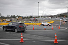 A temporary roundabout made with road cones sits at the Old Taupo Rd and Hemo Rd intersection. PHOTO/ANDREW WARNER