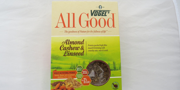 Vogel's All Good Almond Cashew and Linseed. $5.00 for 500g. Photo / Supplied: Wendyl Nissen