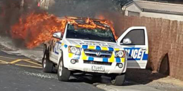 The stolen police car set alight in Meremere, Waikato. Photo / Supplied