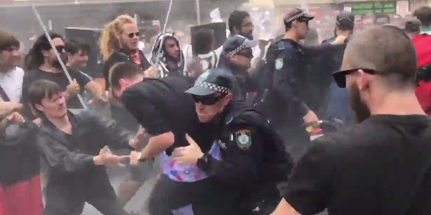 Loading Australia Day protests in Sydney. Photo / 7 News