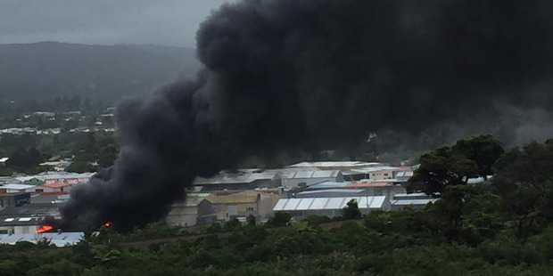 The factory fire in Upper Hutt. Photo / Supplied