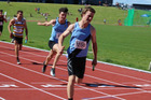 Harry Symes, here winning during the relay at the December's NZ Schools championships, maintained his form over the holiday break to win the graded 100m at the Capital Classic in Wellington on Friday.