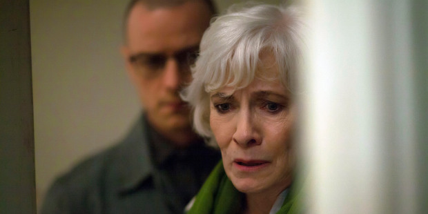 James McAvoy, left, and Betty Buckley in a scene from the film, Split. Photo / AP