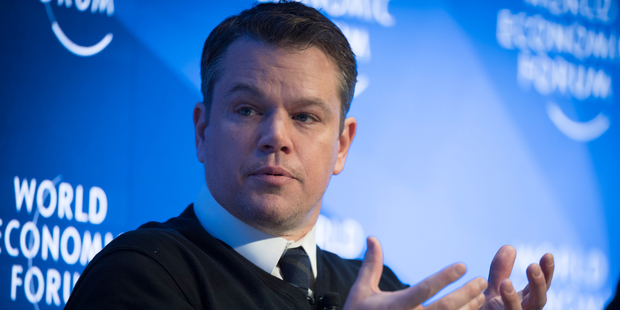 Hollywood A-lister Matt Damon took centre stage at the World Economic Forum to launch a campaign to combat water scarcity. Photo / AP