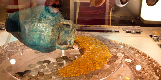 Ancient Islamic coins from different periods at the Museum of Islamic Art. Photo / AP