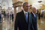 President Barack Obama and Vice President Joe Biden walk through the Crypt of the Capitol in Washington. Photo / AP