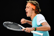 Germany's Alexander Zverev celebrates after winning the third set tie-breaker against Spain's Rafael Nadal during their third round match at the Australian Open. Photo / AP.