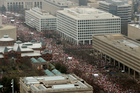 Protesters fill Independence Avenue in downtown Washington. Photo / AP