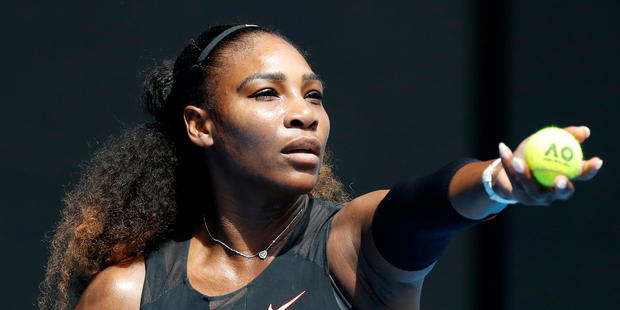 United States' Serena Williams prepares to serve to Barbora Strycova of the Czech Republic during their fourth round match at the Australian Open. Photo / AP.