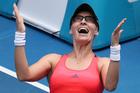 Croatia's Mirjana Lucic-Baroni celebrates her win over American Jennifer Brady at the Australian Open. Photo/AP Photos