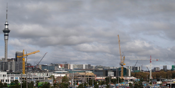 Cranes litter a changing Auckland skyline city as construction booms in New Zealand's largest city. Among the building work is SkyCity's new 5-star NZICC hotel. Photo / file