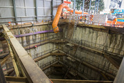 A 12m-deep City Rail Link launch shaft on the corner of Albert St and Victoria St in Auckland. Photo / Nick Reed