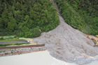 The massive slip on State Highway 73 between Aickens and Otira. Photo / Greymouth Star